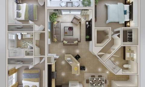 Thiết kế 3D đẹp cho căn hộ chung cư 3 phòng ngủ