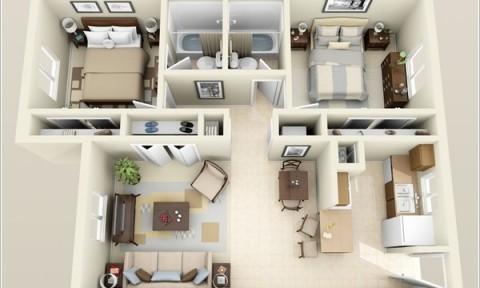 10 mẫu căn hộ hai phòng ngủ tuyệt đẹp cho gia đình trẻ