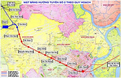 Sơ đồ hướng, tuyến và các nhà ga của toàn tuyến metro số 2. (Ảnh do ban quản lý dự án cung cấp)
