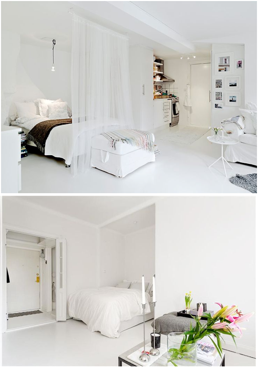 Trong một số trường hợp, rèm cửa và vách ngăn không phải luôn cần thiết. Khi diện tích căn phòng khiêm tốn bạn có thể đặt giường vào một góc khuất mà không cần che chắn hay ngăn cách.