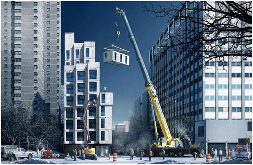 Tòa nhà được lắp ghép từ 55 căn hộ nhỏ đã được hoàn thiện tại xưởng từ trước.