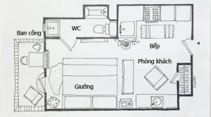 Thay vì những bộ sofa hoành tráng, phòng khách chỉ có một chiếc ghế dựa lớn làm nơi thư giãn cho chủ nhà.