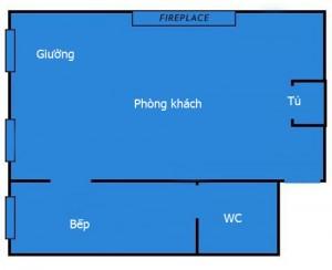 Giường được bố trí đối diện với phòng khách trong một không gian chung còn đủ chỗ cho cả bàn làm việc.