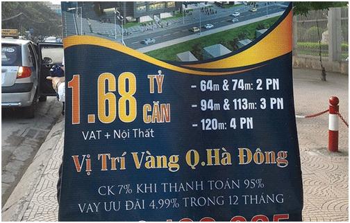 Dự án Goldsilk Complex tại quận Hà Đông chưa chính thức khởi công, đã bị đơn vị phân phối treo phướn rao bán tại nhiều tuyến phố Hà Nội.