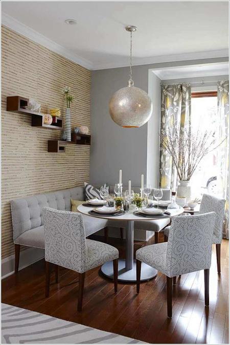 Kiểu băng ghế đệm không chỉ hợp với phòng khách mà còn đem tới sự sang trọng cho phòng ăn.