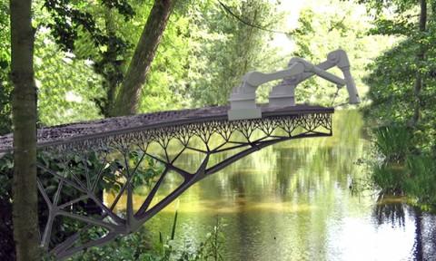 Robot xây cầu trên không tại Amsterdam bằng công nghệ in 3D