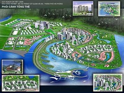Phối cảnh tổng thể dự án xây dựng khu công nghiệp, đô thị và dịch vụ Tràng Cát (quận Hải An).
