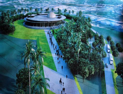Mô phỏng Tổ hợp không gian khoa học theo thiết kế khối nhà tròn hài hòa với cảnh quan của Kiến trúc sư Jean Francois Milou, Tổng Giám đốc Công ty Studio Milou (Singapore). Ảnh: Trí Tín.