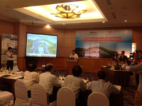 Ông Nghiêm Sỹ Minh- Chủ tịch HĐQT Công ty CP Đầu tư Đèo Cả phát biểu khai mạc Lễ chấm chọn phương án thiết kế kiến trúc công trình xây dựng dự án hầm đường bộ Đèo Cả.