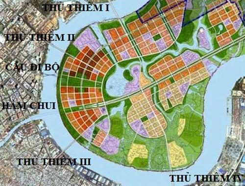 Theo quy hoạch sẽ có 5 cây cầu và một hầm chui nối trung tâm và các quận khác với khu đô thị mới Thủ Thiêm (quận 2).