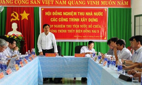 Nghiệm thu nhà nước các hạng mục phục vụ đóng cống tích nước thủy điện Đồng Nai 5