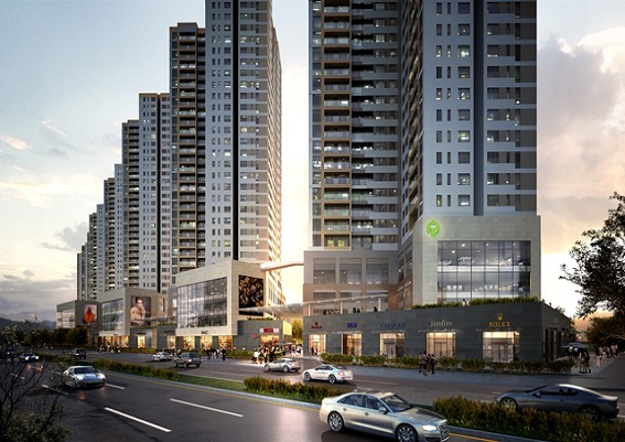 Office-tel The Sun Avenue chiếm 3 tầng khối đế của mỗi tháp, có sảnh thang máy và lối đi riêng