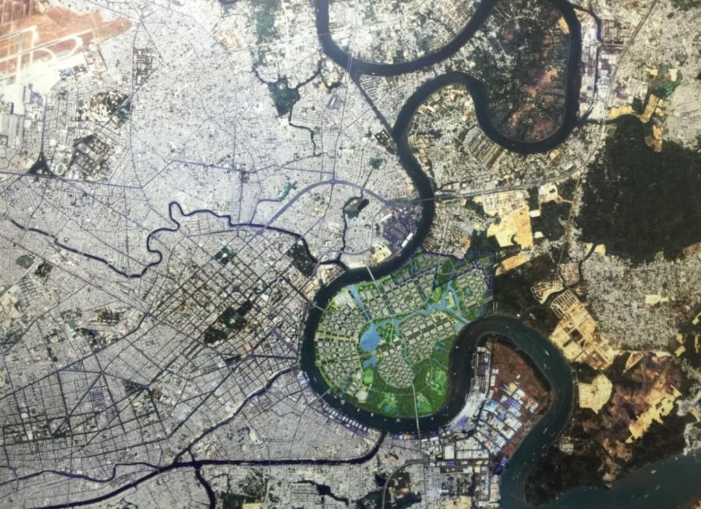 Ảnh vệ tinh Khu vực trung tâm TP.Hồ Chí Minh và vùng phụ cận với Phương án quy hoạch Khu đô thị mới Thủ Thiêm năm 2005