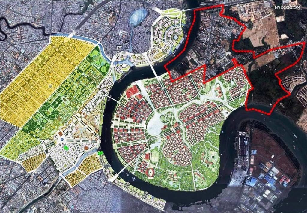 Quy hoạch Sasaki cho Khu Trung tâm bờ Đông và Quy hoạch Nikken Sekkei cho Khu Trung tâm bờ Tây