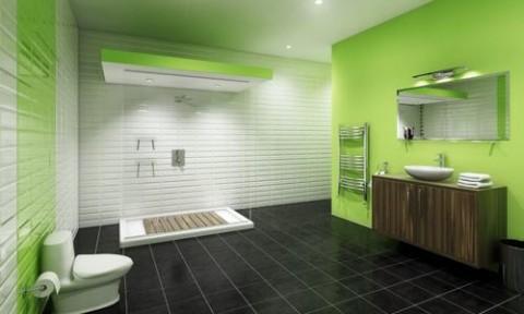 Gam màu xanh cho phòng tắm ngày hè