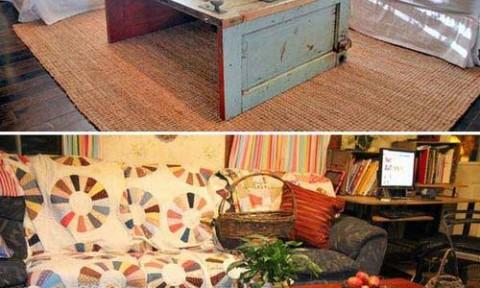 Tái sử dụng cửa gỗ cũ thành đồ nội thất độc đáo