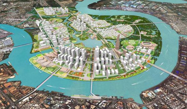Mô hình Khu đô thị mới Thủ Thiêm nhìn từ Quận 4 - Phương án đạt giải của công ty Sasaki