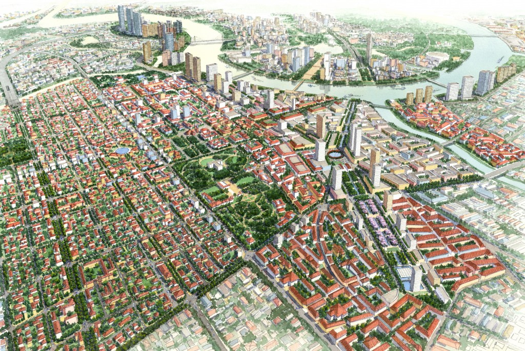 Ý tưởng thiết kế đô thị đề xuất (Phối cảnh nhìn từ trên cao của Khu vực quy hoạch)