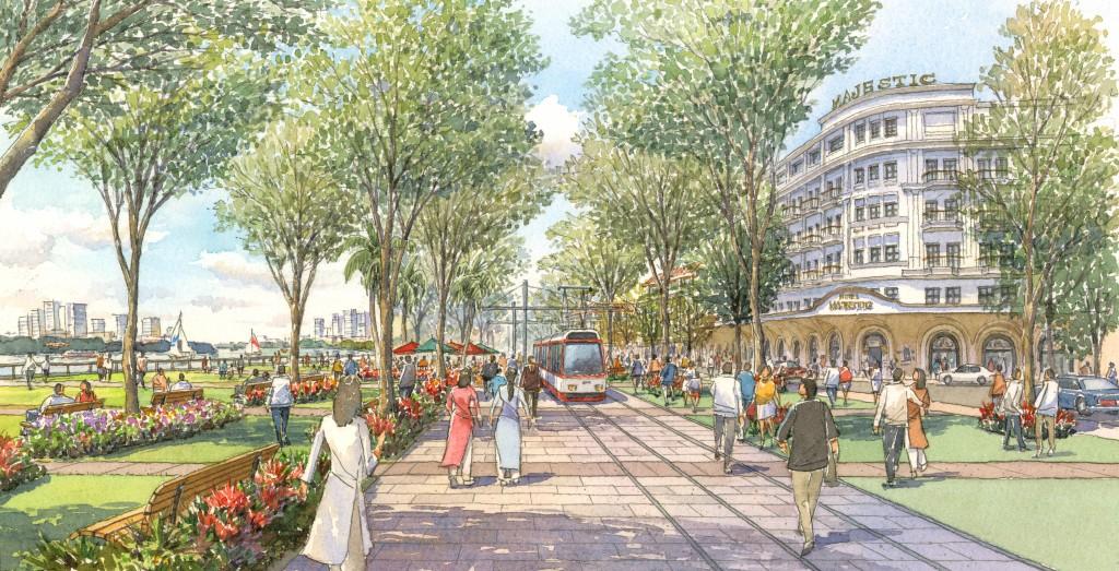 Ý tưởng thiết kế đô thị đề xuất (Không gian dành cho người đi bộ cùng hệ thống LRT - Vận tải đường sắt hạng nhẹ)