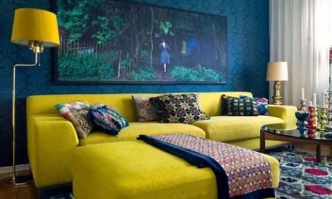 Chọn điểm nhấn cho căn phòng với sofa vàng