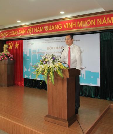 Thứ trưởng Bộ Khoa học và Công nghệ Phạm Đại Dương - Trưởng ban Quản lý khu CNC Hòa Lạc phát biểu