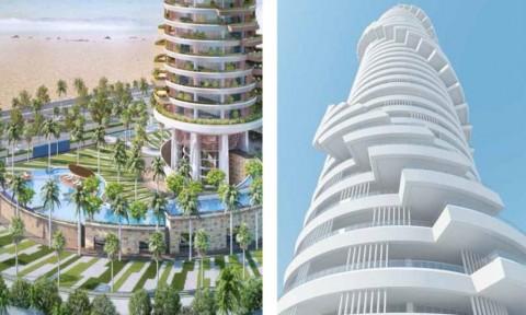 Tòa tháp được bao phủ bởi lớp thảm thực vật ở Abu Dhabi