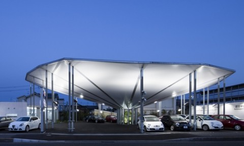 """Kiến trúc nhà xe hình """"dù ngược"""" ở Nhật"""