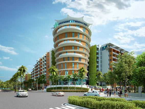 Kiến trúc công trình nhà ở chung cư ven biển với mặt tiền xanh Khu biệt thự Premier Residence (Phú Quốc, Kiên Giang)