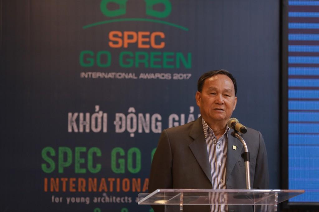 Ông Nguyễn Tấn Vạn, Chủ tịch Hội Kiến trúc sư Việt Nam phát biểu trong buổi phát động giải thưởng Spec Go Green International Awards 2017