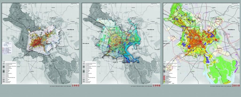 Hình 1. Quy hoạch 1993, Quy hoạch 1998 và Quy hoạch 2010 – nguồn: tác giả