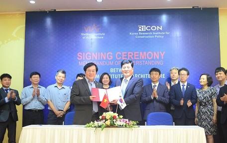 Viện Kiến trúc Quốc gia và Viện Nghiên cứu Chính sách Xây dựng Hàn Quốc ký kết biên bản hợp tác ghi nhớ