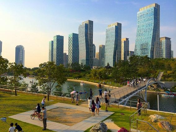 Không gian cảnh quan công viên sinh thái Đô thị thông minh Songdo (Incheon, Hàn Quốc)