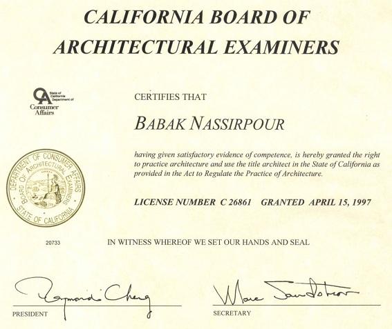 Chứng chỉ hành nghề kiến trúc sư tại bang California (Hoa Kỳ)