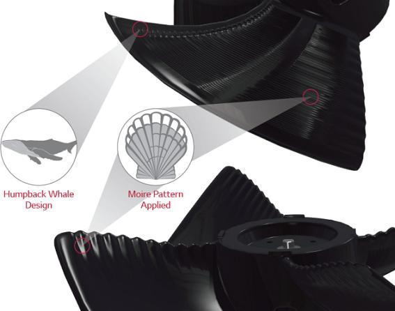 Lấy cảm hứng từ hình tượng cá voi xanh, các nhà khoa học đã sáng tạo ra cánh quạt cho điều hòa Multi V5 làm tăng công suất gió và làm giảm tiếng ồn.