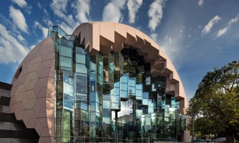 Thư viện kiến trúc hình tổ ong lở màu hồng gây sốt