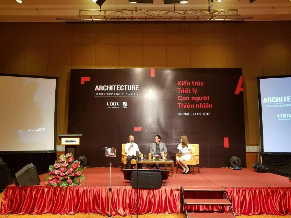 Kts Hoàng Thúc Hào và Kts Lê Trương giao lưu với sinh viên các trường đại học ngành kiến trúc