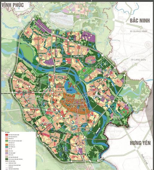 Bản đồ khu vực nội đô lịch sử (Đồ án QH chung TP Hà Nội đến năm 2030 tầm nhìn 2050)
