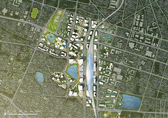 Sơ đồ mặt bằng quy hoạch tổng thể QHPK đô thị khu vực ga Hà Nội và phụ cận do tư vấn Nhật Bản lập và xin ý kiến các bộ, ngành tháng 09/2017 (nguồn ảnh: Giadinh.net)