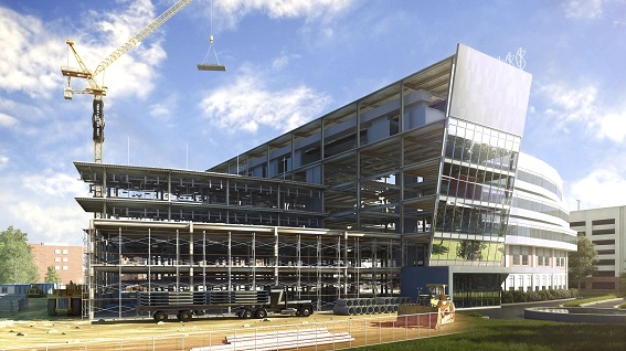 Rendering of the BIM City Westside Hospital data set highlighting construction.