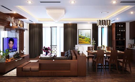 Phòng khách sử dụng chất liệu gỗ gụ với tông màu nâu đậm tạo nên không gian hài hòa, ấm cúng, sang trọng