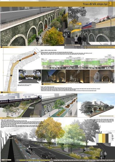 """Phương án thiết kế đạt giải có chủ đề """"Trao đi và nhận lại"""" tái thiết khu vực cầu dẫn đường sắt tuyến phố Phùng Hưng, Hà Nội"""