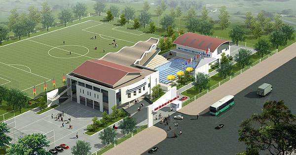 Mô hình thiết kế điển hình khu trung tâm văn hóa và thể thao cấp Xã