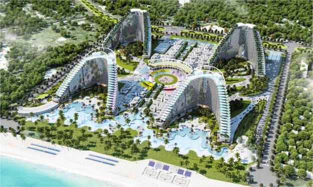 The Arena với 4 tòa tháp uốn cong hình tổ yến theo chủ đề từ đại bất biến Đất - Nước - Lửa - Khí tạo sự cân bằng thịnh vượng