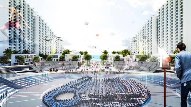 Quảng trường trung tâm Arena nơi sẽ diễn ra các hoạt động lễ hội, nghệ thuật quanh năm
