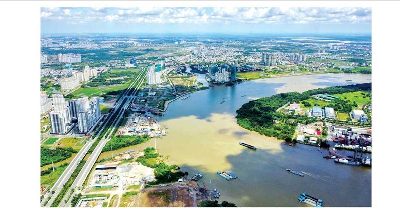 Khu đô thị Thủ Thíêm (TPHCM) nằm trong vùng ngập nước do triều cường trước tác động của BĐKH