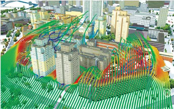 ASơ đồ phân tích gió Lốc xuất hiện phía sau cụm công trình cao tầng đô thị