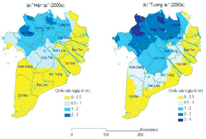 Kịch bản ngập nước vùng ĐBSCL dưới tác động của BĐKH và nước biển dâng