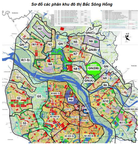 Sơ đồ các phân khu đô thị Bắc Sông Hồng