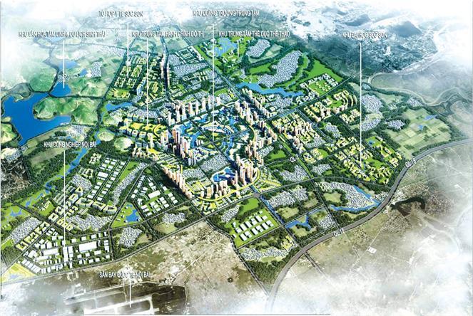 Phối cảnh tổng thể Quy hoạch chung xây dựng ĐTVT Sóc Sơn (Hà Nội) đến năm 2030