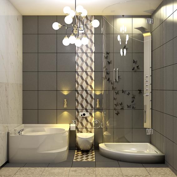 Trang trí phòng tắm với ánh sáng và thiết bị hiện đại